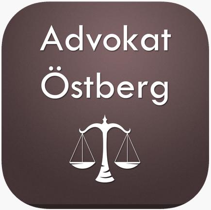 Vit text Advokat Östberg med gammaldags våg ikon på bakgrund som är en brun rektangel med avrundade hörnor
