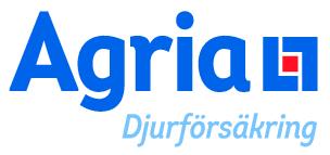 Text Agria djurförsäkring i klar blå font med grafiskt symbol i form av genombruten fyrkant i blå med liten rött fyrkant innan i
