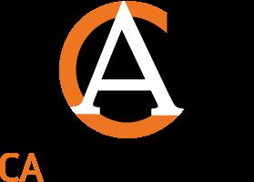 Orange C och vit A på svart cirkel bakgrund med text CA Andersson under