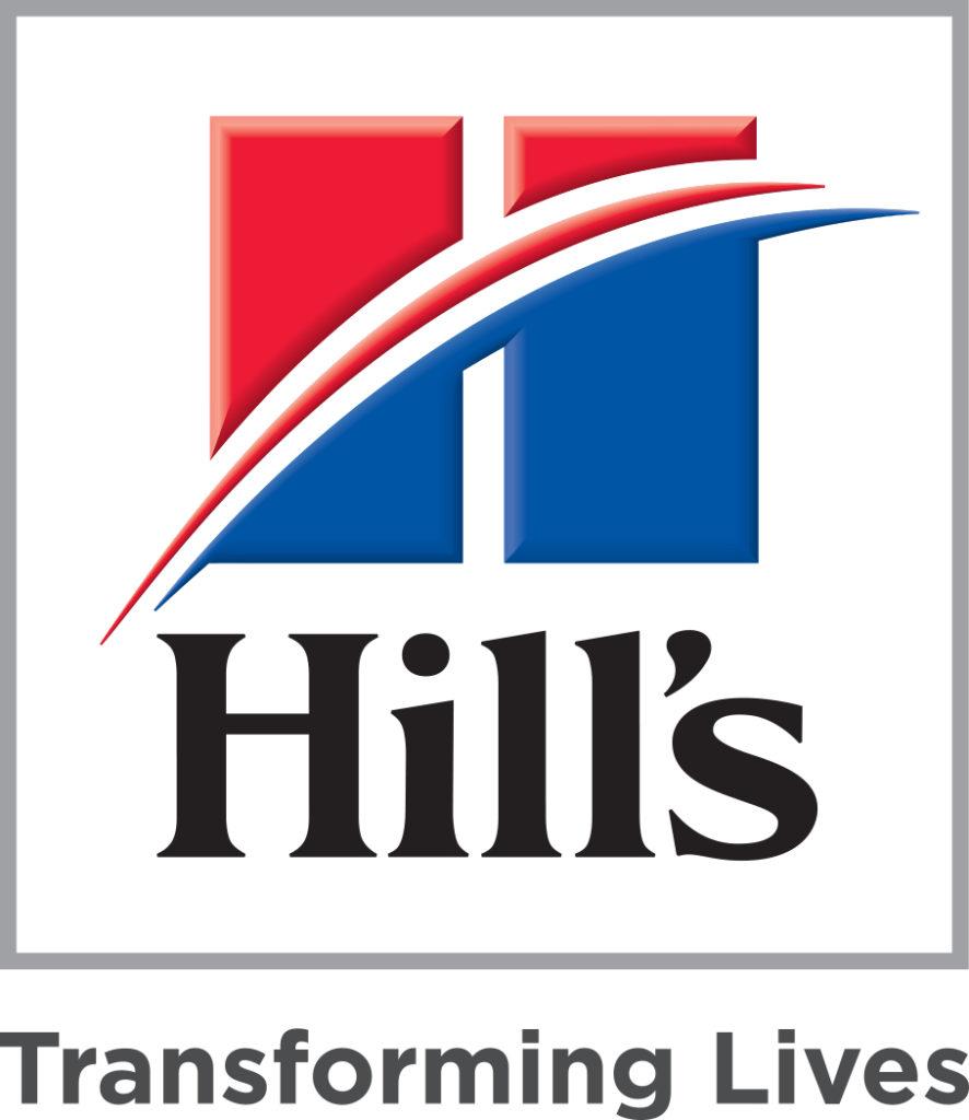 Röd och blå grafik med texten Hill's i svart